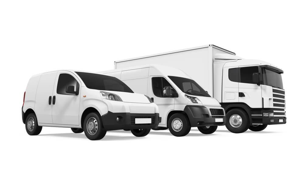 fleet of vans and trucks